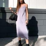 Нежно лавандовое платье комбинация миди длины из шелка
