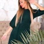 Платье зимнее из ангоры зеленого цвета рукав фонарик
