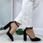 Черные босоножки из натуральной замши высокий каблук закрытые носок и пятка