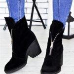 Ботинки черные замшевые на толстом каблуке со змейкой