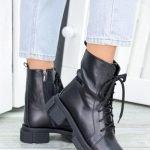 Ботинки на тракторной подошве в стиле прада черные 36-40 натуральная кожа