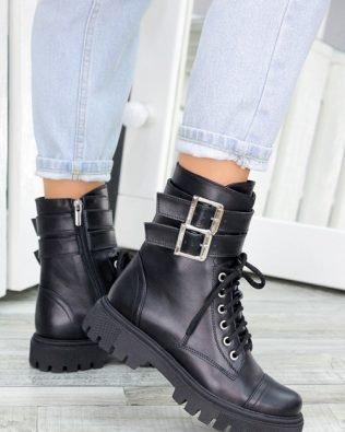 Женские кожаные ботинки из натуральной кожи в стили милитари на тракторной подошве