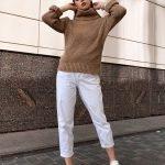 Горчичный свитер крупная вязка оверсайз женский