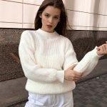 Белый свитер крупная вязка оверсайз женский
