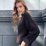Черный свитер крупная вязка оверсайз женский