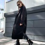 Черное пальто кардиган свободного кроя с поясом и карманами
