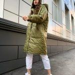 Оливковая куртка парка женская с капюшоном осенняя