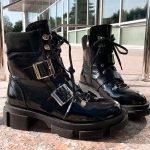 Ботинки женские на тракторной подошве в стиле «Прада»