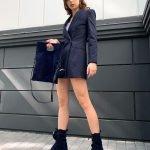 Ботинки из синей замши с карманами кошельками в стиле Прада