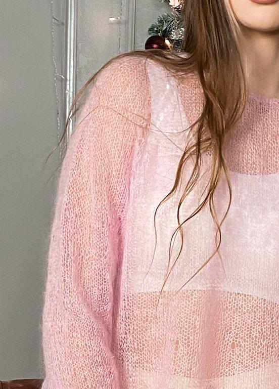 Мохеровый свитер ручной работы с воланом и рукавом реглан