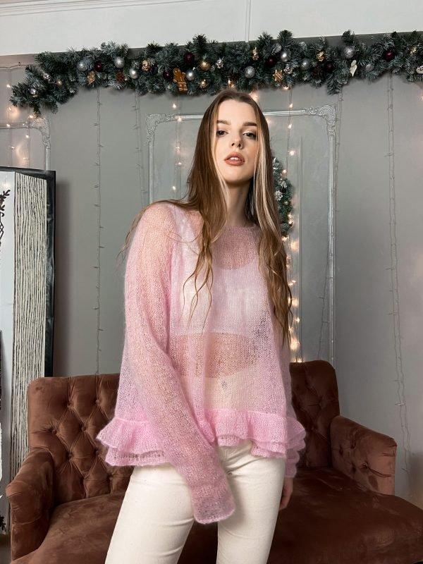 Купить розовый свитер паутинка ручной работы