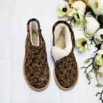 Угги леопардовые короткие из натуральной замши