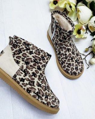 Угги серые леопардовые короткие из натуральной замши
