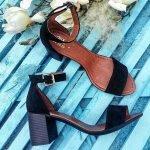Черные замшевые босоножки на среднем удобном каблуке
