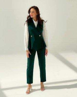Элегантный изумрудный, женский костюм брюки 7/8 и безрукавка — жилет