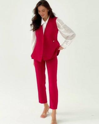 Элегантный бордовый, женский костюм брюки 7/8 и безрукавка — жилет