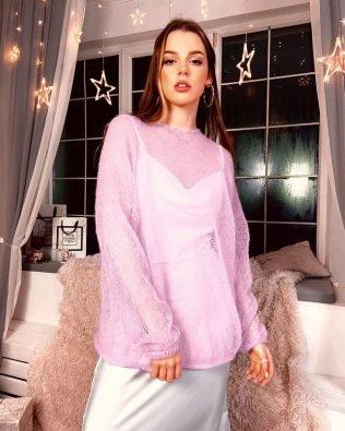 Розовый свитер паутинка, ручная работа из мохера