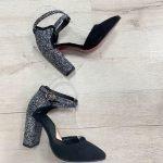 Серые босоножки из натуральной замши высокий каблук покрытого блестками закрытые носок и пятка