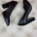 Черные туфли на высоком толстом каблуке ручная работа кожа