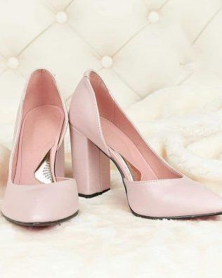 Пудровые туфли на высоком толстом каблуке ручная работа кожа