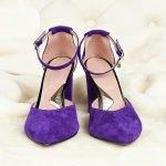 Фиолетовые босоножки толстый каблук замша