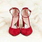 Красные босоножки из натуральной замши высокий каблук закрытые носок и пятка