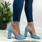 Голубые босоножки из натуральной замши высокий каблук закрытые носок и пятка