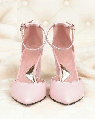 Розовые босоножки из натуральной кожи высокий каблук закрытые носок и пятка