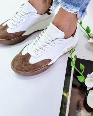 Кроссовки крутые молодежные бело коричневого цвета, женские