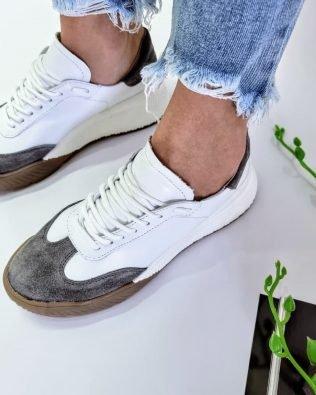 Кроссовки крутые молодежные бело серого цвета, женские