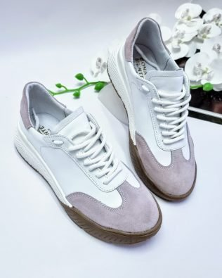 Кроссовки крутые молодежные бело сиреневого цвета, женские