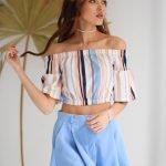 Шорты- юбка женские голубые
