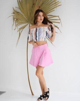 Шорты- юбка женские розовые