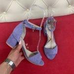 Лавандовые женские босоножки замшевые, устойчивый каблук