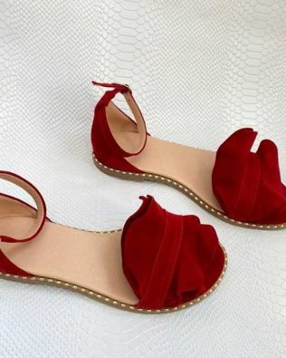 Бордовые сандалии женские с воланом из натуральной замши