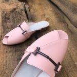 Мюли с пряжкой нежно розовые на низком кожаные