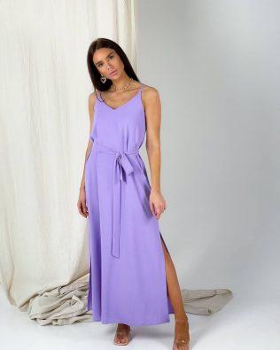 Лавандовое длинное платье комбинация с разрезами оверсайз