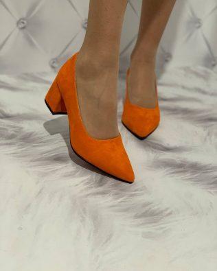 Оранжевые туфли на удобном каблуке натуральная замша