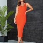 Оранжевое платье миди обтягивающее вязаное летнее из хлопка