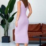 Лавандовое платье миди обтягивающее вязаное летнее из хлопка