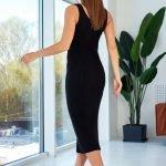 Черное платье миди обтягивающее вязаное летнее из хлопка