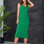 Зеленое платье миди обтягивающее вязаное летнее из хлопка