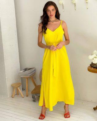 Желтое длинное платье комбинация с разрезами оверсайз