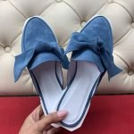 Мюли с бантом низкий ход из замши синие, цвета «Джинс»