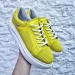 Кеды для женщин со сквозной 3D перфорацией желтого цвета