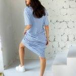 Платье тельняшка миди оверсайз синие и белые полоски
