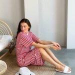 Платье тельняшка миди оверсайз красные и белые полоски