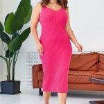 Фуксия трикотажное миди платье с вырезом майка большого размера купить