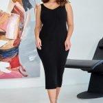 Черное трикотажное миди платье с вырезом майка большого размера купить