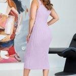 Лавандовое трикотажное миди платье с вырезом майка большого размера купить